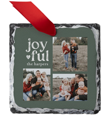 joyful chalk slate ornament