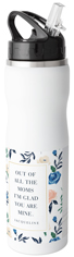 watercolor floral frame stainless steel water bottle with straw