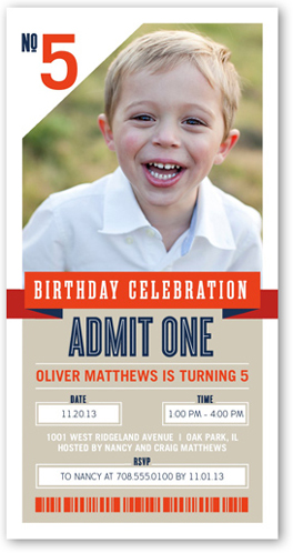 One Awesome Ticket Birthday Invitation, Square Corners