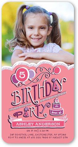Birthday Balloons Girl Birthday Invitation by pottsdesign