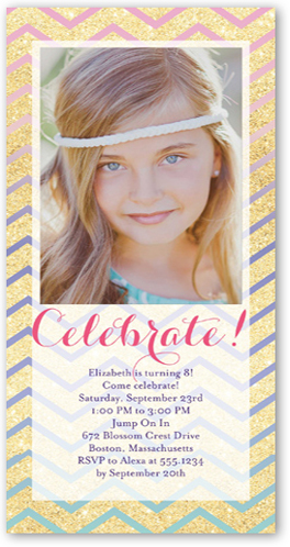 Chevron Shimmer Birthday Invitation, Square Corners