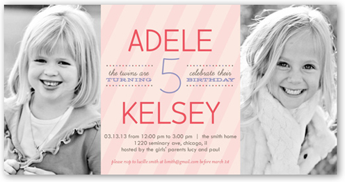 stripe girls twin birthday invitation shutterfly