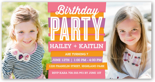 Stripy Chic Twin Birthday Invitation by Float Paperie