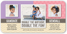 patterned pair twin birthday invitation 4x8 flat