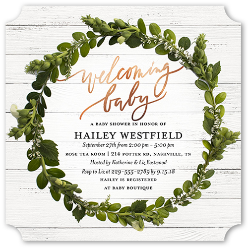 Welcoming wreath baby shower invitation cards shutterfly baby shower invitation visible part transiotion part front filmwisefo