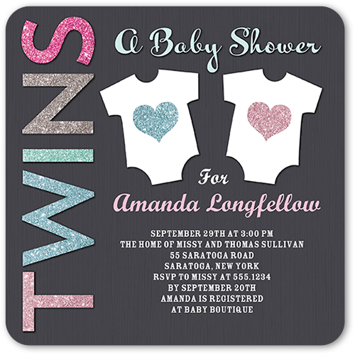 Arrival For Two Baby Shower Invitation, Rounded Corners