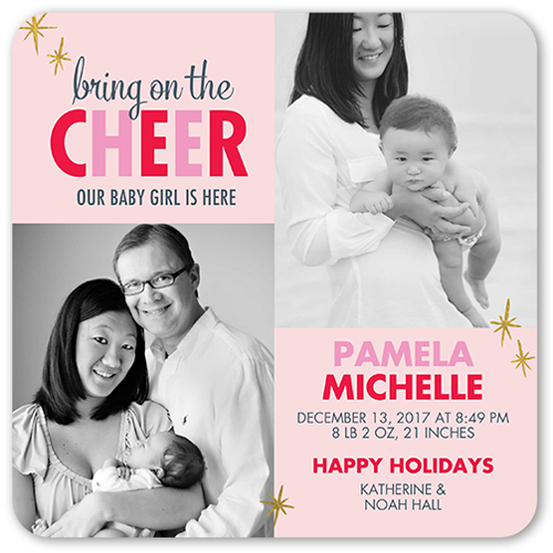 Cheer And Love Girl Birth Announcement