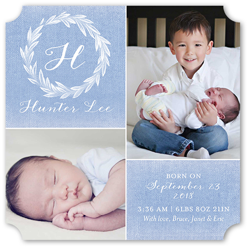 Newborn Monogram Boy Birth Announcement, Ticket Corners