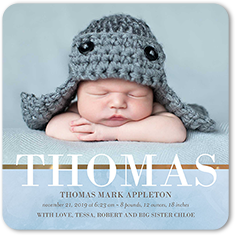 clouded with love boy birth announcement 5x5 flat