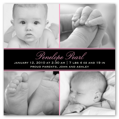 Square Pink Collage Birth Announcement