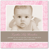 french rose birth announcement 5x5 flat