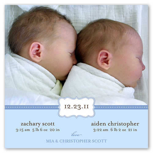 Love Cloud Blue Birth Announcement, Square Corners