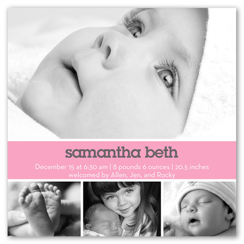 Modern Pink Birth Announcement, Square Corners