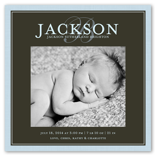 Modern Script Boy Birth Announcement, Square Corners
