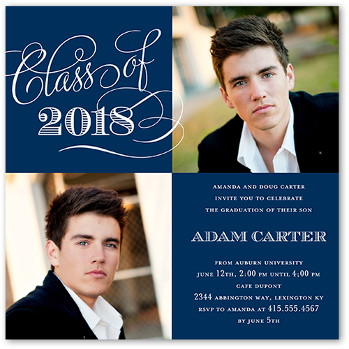 Elegant Moments Graduation Invitation, Square Corners