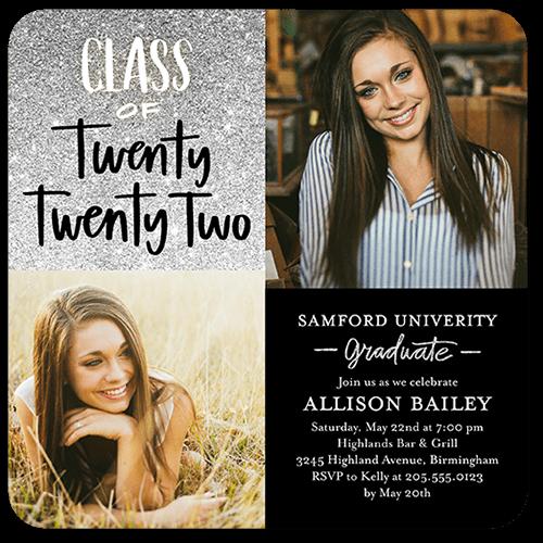 Glistening Grad Graduation Invitation, Rounded Corners