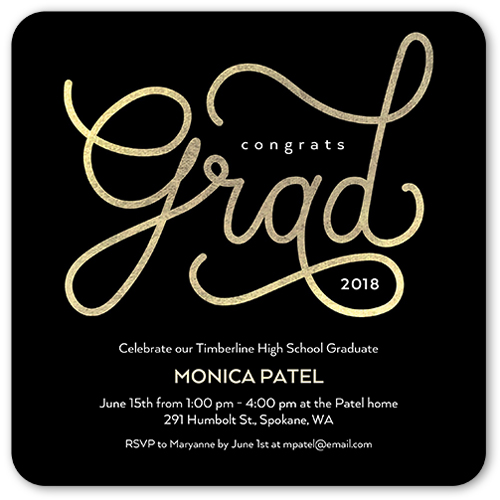 Big Script Grad Graduation Invitation, Rounded Corners