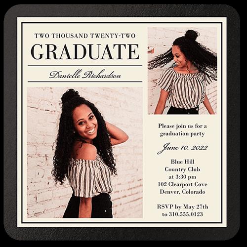 Simple Elegant Grad 5x5 Graduation Party Invitation