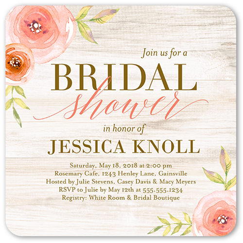 English Garden Florals Bridal Shower Invitation, Rounded Corners