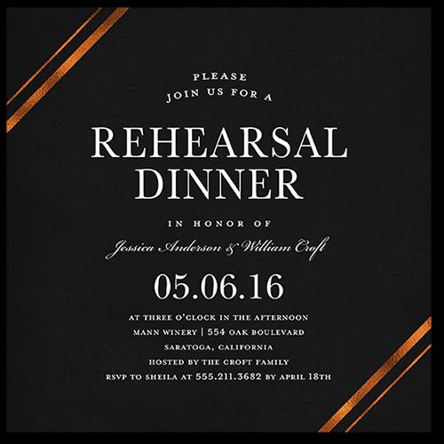 Stylish Bands Rehearsal Dinner Invitation, Square Corners