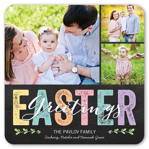 Chalkboard Easter Easter Card, Rounded Corners