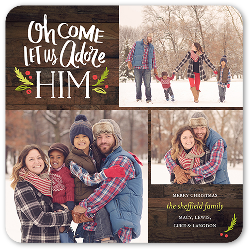 Let Us Adore Him Religious Christmas Card