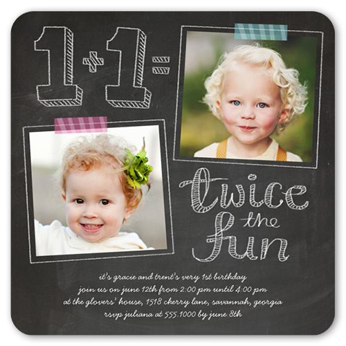 Twice As Fun 5x5 Flat Invitation – Twin 1st Birthday Invitations