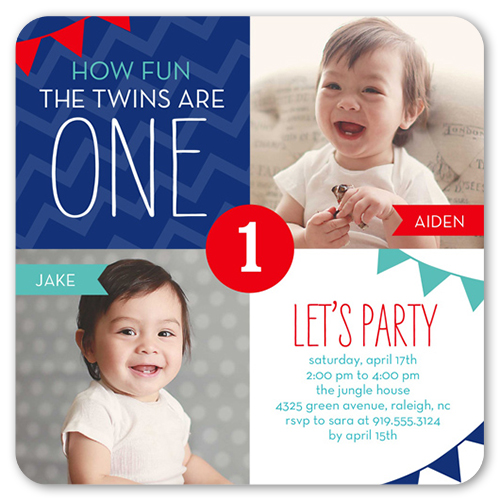 Birthday Banners 5x5 Flat Invitation – Twin 1st Birthday Invitations