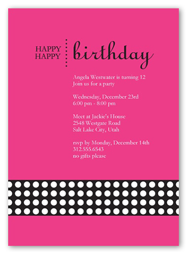 Happy Pink Party Invitation