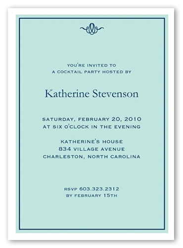 Nantucket Blue Party Invitation, Square Corners