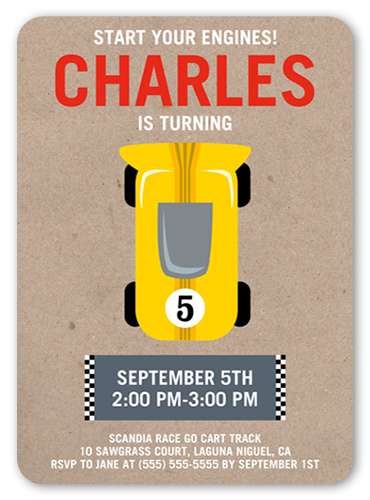 Race Car Party Birthday Invitation, Rounded Corners