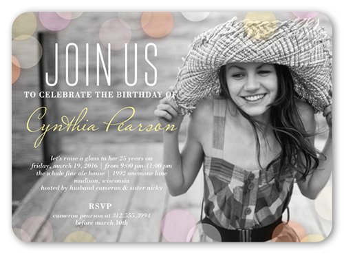 Pastel Bokeh Birthday Invitation, Rounded Corners