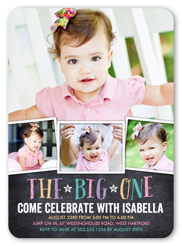 Chalkboard Celebration Girl Birthday Invitation, Square