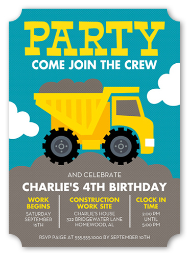 Party Truck Birthday Invitation, Ticket Corners