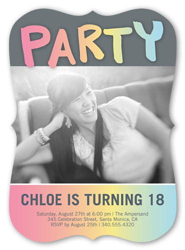 Rainbow Ombre Birthday Invitation, Square