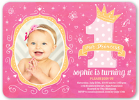 Pink Baby Girls 1st Birthday Invitations Shutterfly