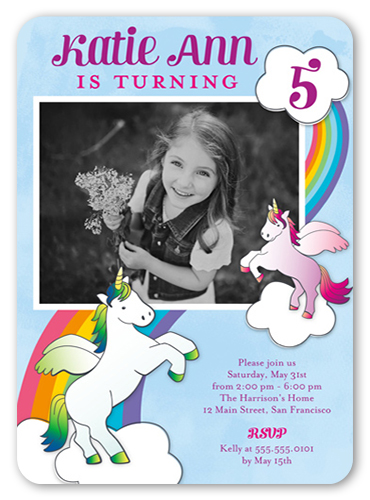 Vibrant Unicorns Birthday Invitation, Rounded Corners