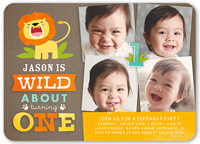 Wild About Turning One Boy First Birthday Invitation