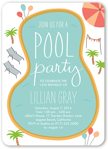 Birthday Pool Party 5x7 Boy Birthday Invitations