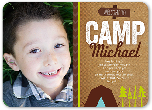 Welcome To Camp Boy Birthday Invitation, Rounded Corners