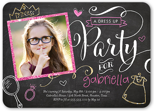 Perfect Princess Birthday Invitation, Rounded Corners