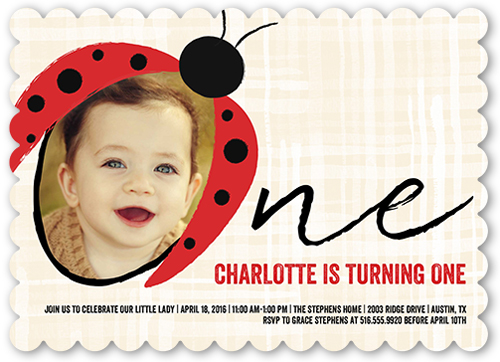 Lovely Ladybug Birthday Invitation, Square