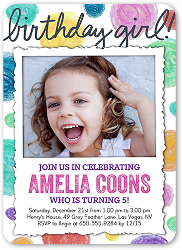 Dotty Birthday Girl Birthday Invitation, Rounded Corners