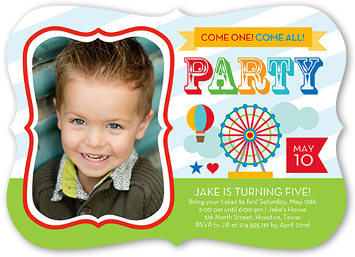 Come One Come All Boy Birthday Invitation, Bracket Corners