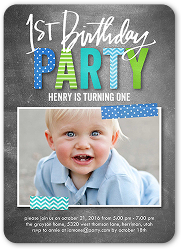 Preppy Patterned Boy Birthday Invitation