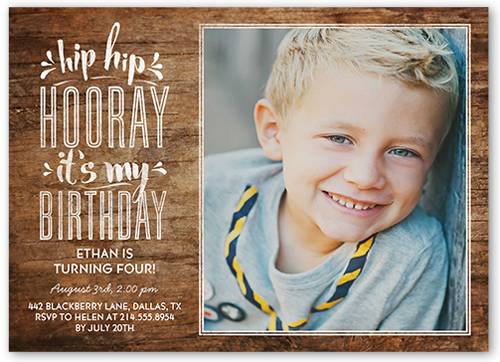 Hip Hop Hooray Boy 5x7 Birthday Invitations