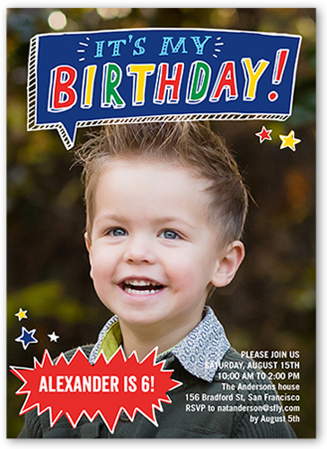 Talk bubble fun 5x7 boy birthday invitations shutterfly stopboris Image collections