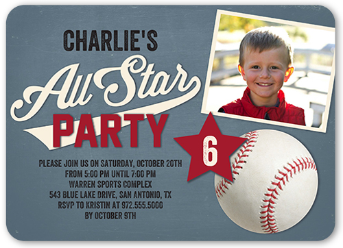 All Star Fun Birthday Invitation, Rounded Corners