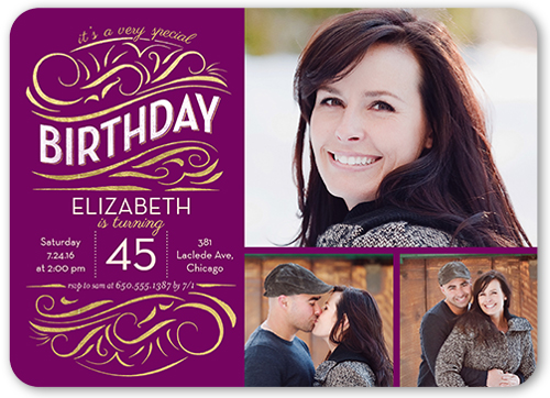 Scrolly Type Birthday Invitation, Rounded Corners