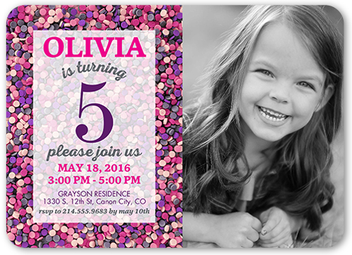 Sprinkles Galore Girl Birthday Invitation, Square